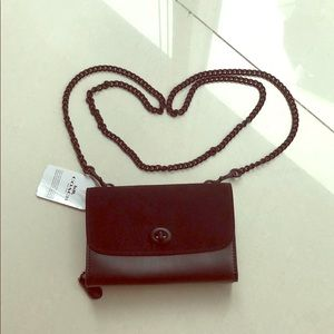 NWT Coach black suede and leather chained wallet